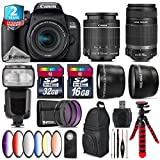 Canon EOS Rebel 800D/T7i Camera + 18-55mm IS STM Lens + Canon 55-250mm IS Telephoto Lens + Pro Flash + 6PC Graduated Color Filter Set + 2yr Extended Warranty + 32GB - International Version