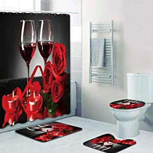 Shower Curtain for Valentine and Carpet Mat Bathroom Toilet Mat 4 pcs, Romantic Red Wine Glass with Rose and Wine Pattern (Color A-4pcs)