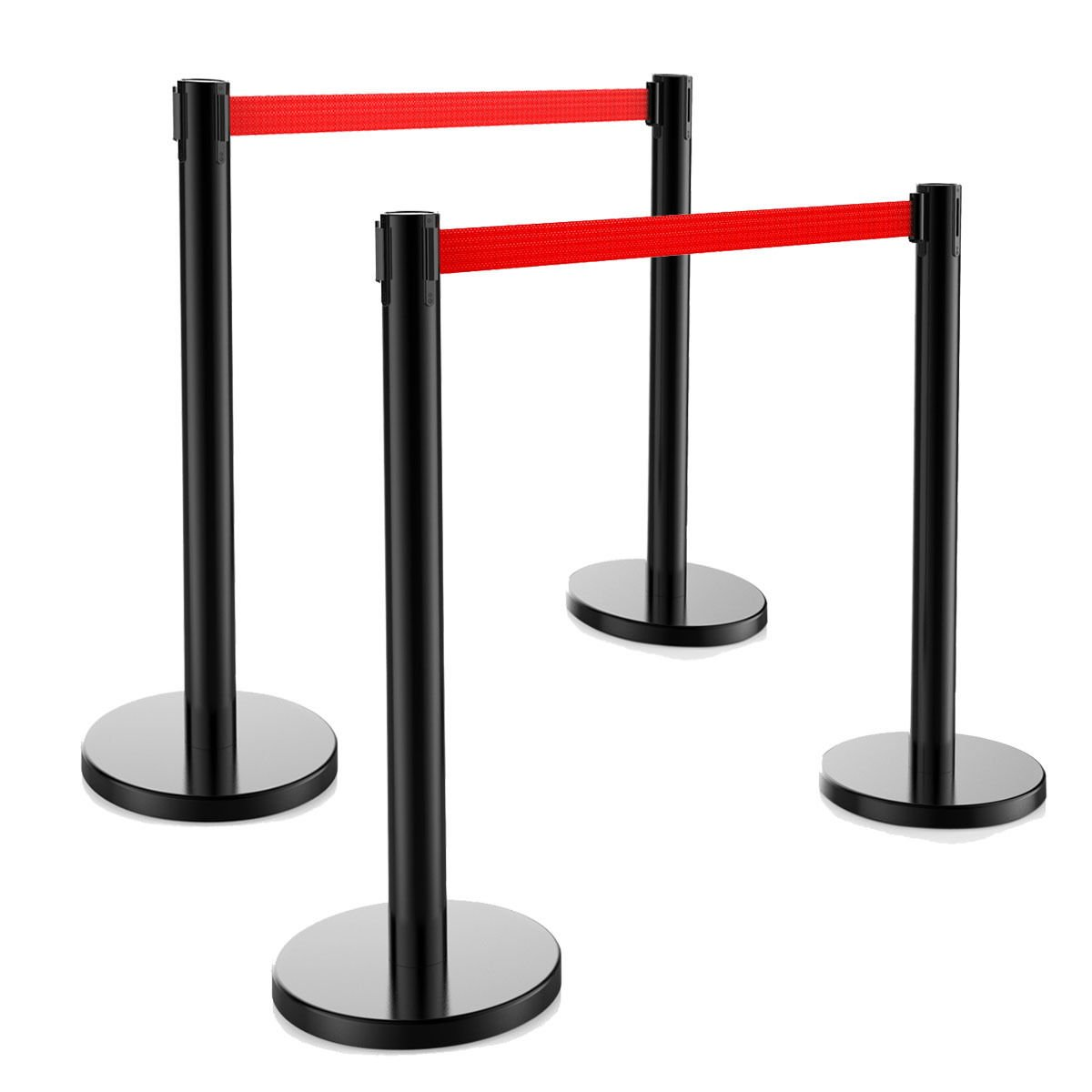 4 PCS Crowd Control Barrier Stanchion Posts Queue Pole Retractable Red Belt
