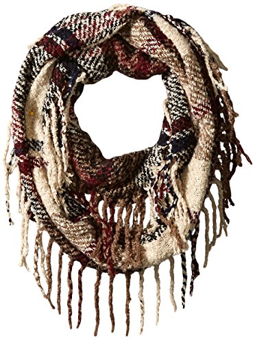 RAMPAGE Women's Boucle Plaid Infinity Scarf, Multi Sand, One Size