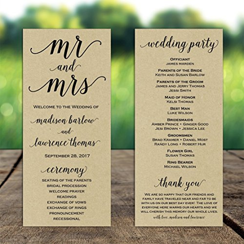 (Wedding Program Mr and Mrs with ANY Wording Printed Kraft Paper )