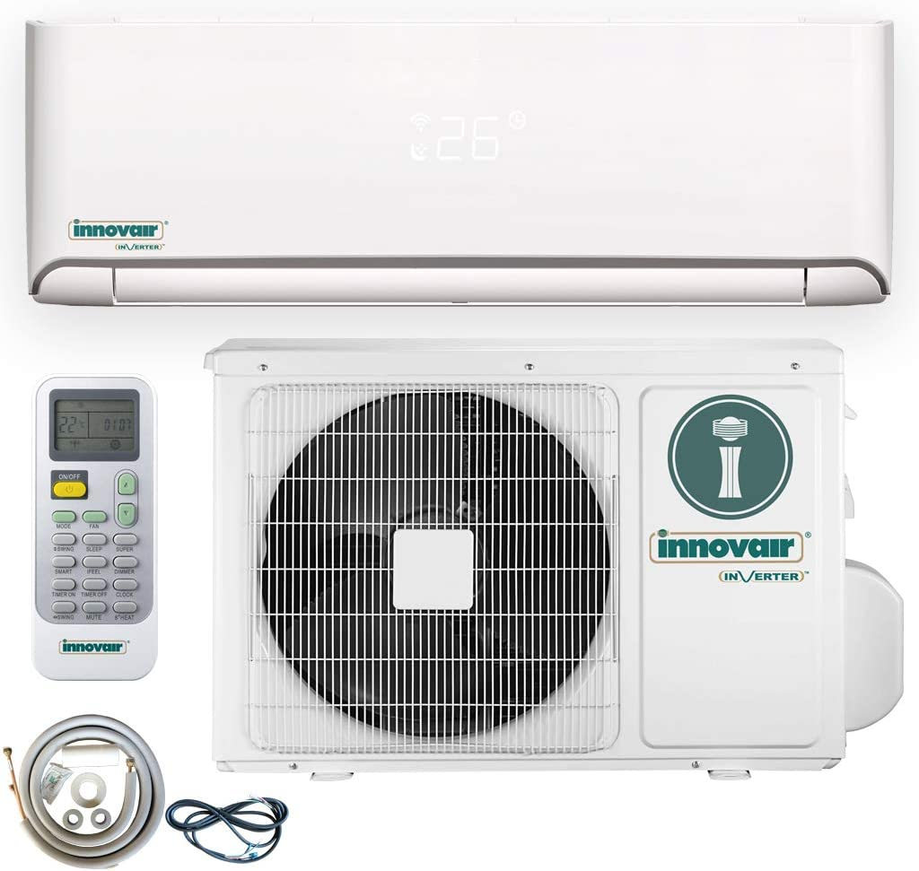 Innovair Air Conditioner Inverter Ductless Wall Mount Mini Split System Heat Pump Full Set with Kit (12000 BTU 115V Heat Pump)