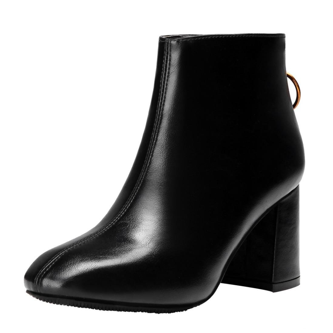 Womens Winter Boots - Chunky Heel Back Zipper Ankle Booties - Ladies Faux Lether Point Toe Snow Boots Shoes (Black, 38/US:7)
