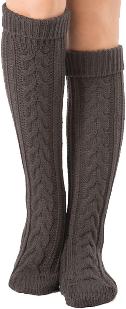 Tukistore Ladies Girls calze a maglia sopra il ginocchio calzini al ginocchio inverno calzini al ginocchio scaldamuscoli scaldamuscoli scaldamuscoli calze di cotone
