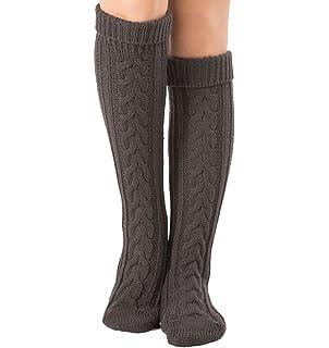 Mujer Calcetines hasta Las Rodillas, Tukistore Color Puro Calcetines Largos de Punto elásticos Calcetines Altos