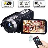 Video Camera Camcorder with IR Night Vision, FAERSI 18X Digital Zoom 24.0 Mega Pixels Full HD 270 Degrees Portable Mini Handheld Digital Video Camera Recorder(Two Batteries Included)