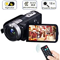 Video Camera Camcorder with IR Night Vision, FAERSI 18X Digital Zoom 24.0 Mega Pixels Full HD 270 Degrees Portable Mini Handheld Digital Video Camera Recorder(Two Batteries Included)