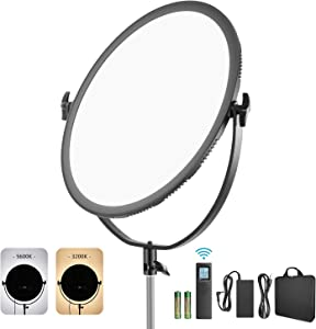 Neewer LED Bi-Color Studio Round Lighting, Ultra Thin Studio Edge Flapjack Light, 21-Inch 70W Dimmable Portrait Light with Battery Holder/AC Adapter/2.4G Wireless Remote (Battery Not Included)