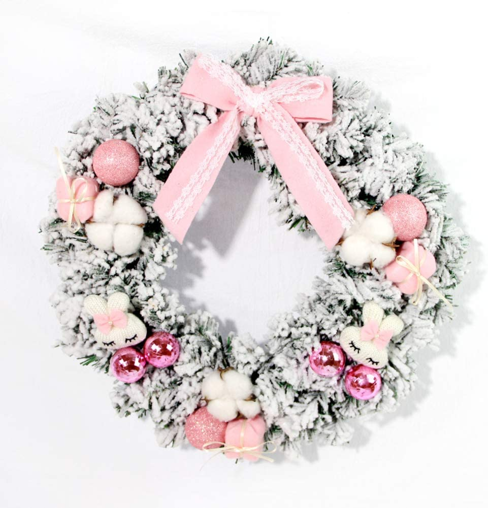 GE&YOBBY Pink Artificial Christmas Wreaths,Pine Garland with Realistic Snow Instagram Style Wall Decoration with Coton and Cartoon Rabbit for Indoor Outdoor-a Diameter:45cm(18inch)