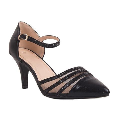 22beb8e6fb61bd Escarpins Pointus Noir ou Argent Strass soirée Grande Taille Femme 41,42,43,
