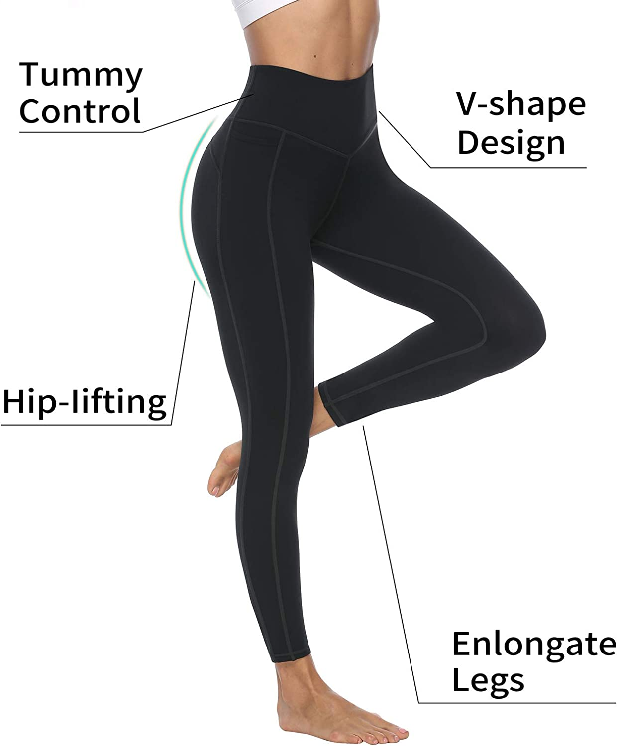 VOEONS/Yoga/Pants/for/Women/High/Waisted/Tummy/Control/Spandex/Exercise/Athletic/Leggings/with/Pockets/