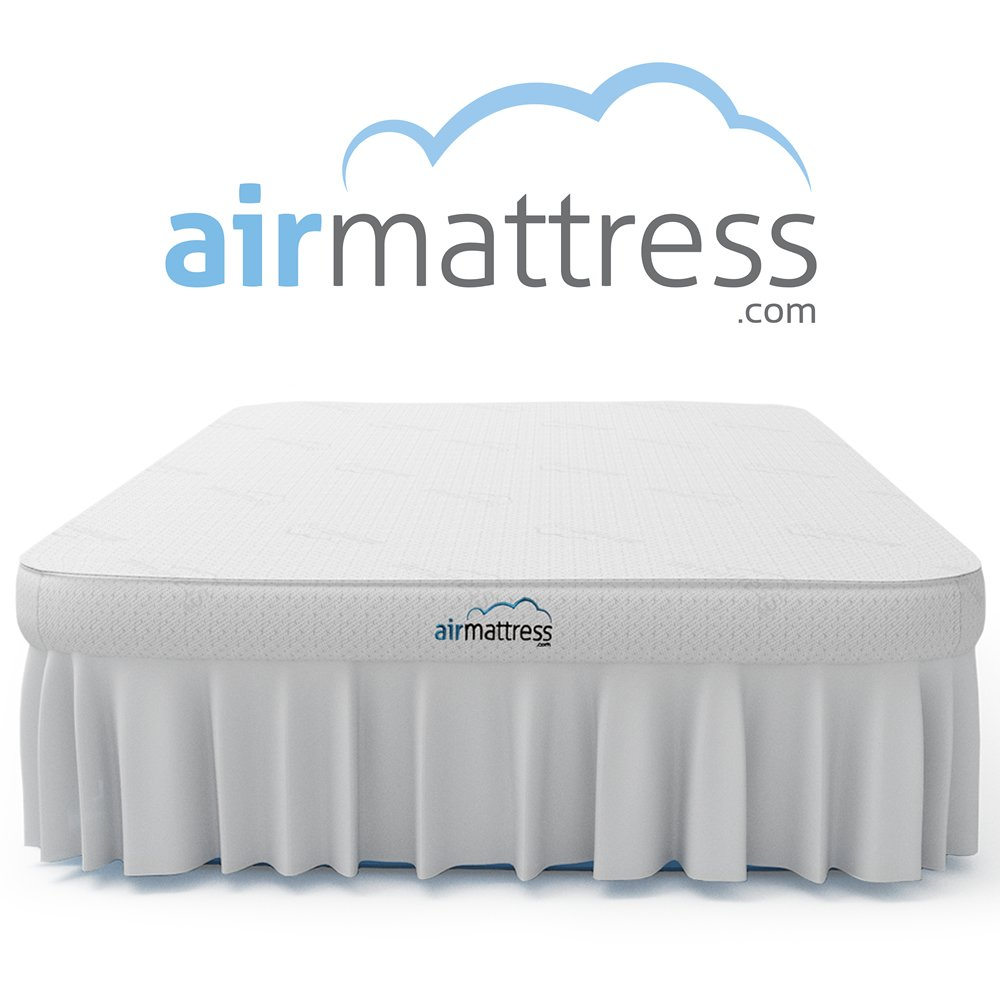 Air Mattress QUEEN size - Best Choice RAISED Inflatable Bed with Fitted Sheet and Bed Skirt - Built-in High Capacity Airbed Pump by AirMattress.com
