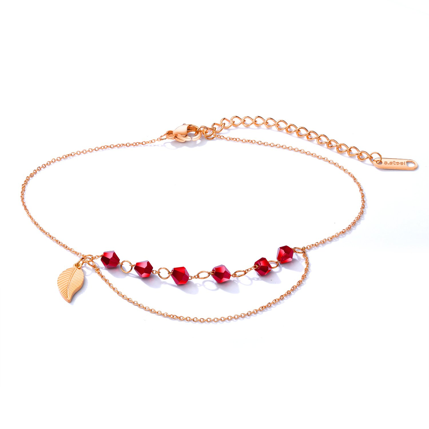 Fate Love Jewelry Women Stainless Steel Dangle Red Bead Leaves Rose Gold Charm Barefoot Foot Anklets Chain Bracelets, 9.4''+ 1.6''