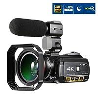 Camcorder 4K ORDRO 3,1 Zoll IPS-Touch Screen 4K Ultra HD Nachtsicht Wifi Digitale Videokamera 30X Digital Zoom Camcorder mit Mikrofon und Weitwinkelobjektiv