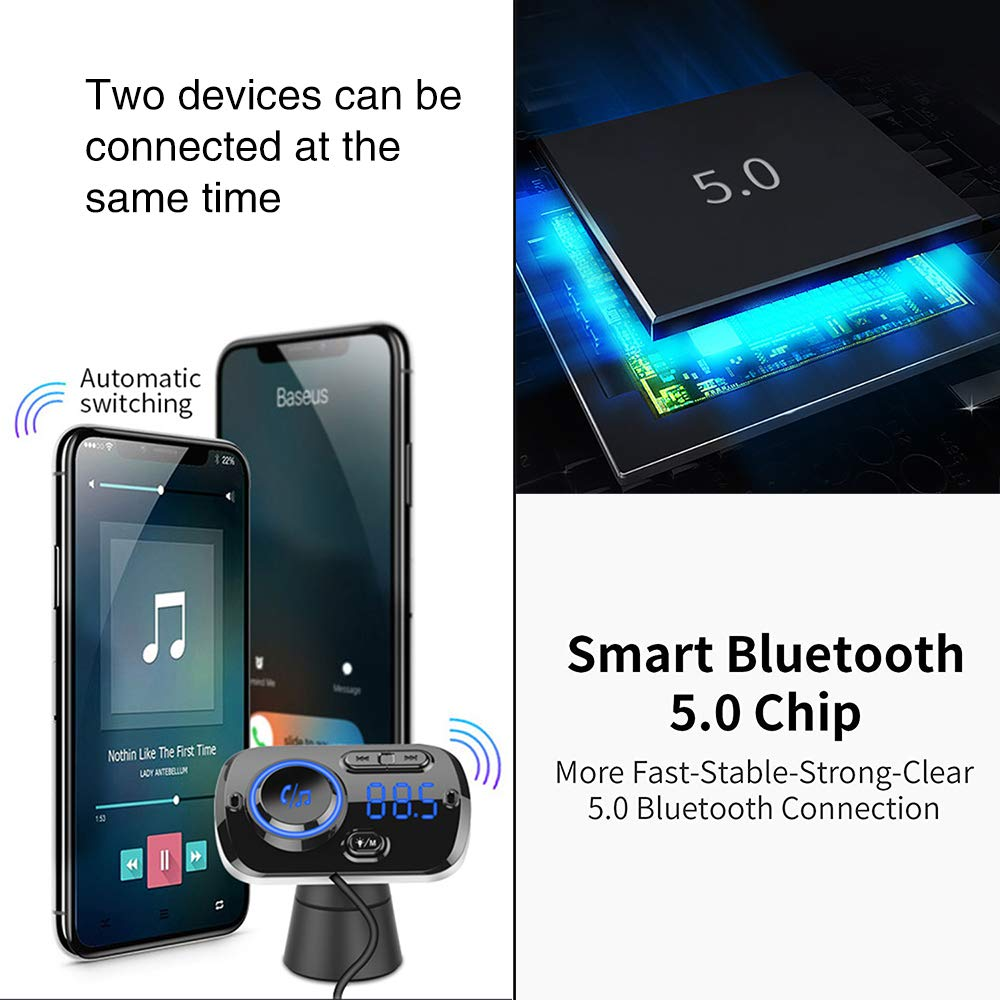Charge Rapide,Bluetooth Lecteur MP3 Mains Libres Kit avec Support 2 T/él/éphones Portables Connexion et FM pour Voiture Wendapai Chargeur de Voiture Bluetooth BC49BQ Kit De Voiture sans Fil Bluetooth