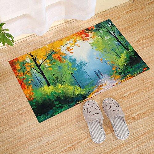 ATOLY Yellow Tree Trail Oil Painting Polyester Rubber Non-Slip Door Mat - Indoor and Outdoor Door Mats, Front Door, All-Weather Exterior Door