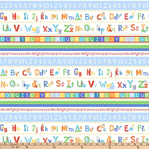 (Northcott Alphabet Soup Animal ABCs Stripes White Fabric by The Yard)
