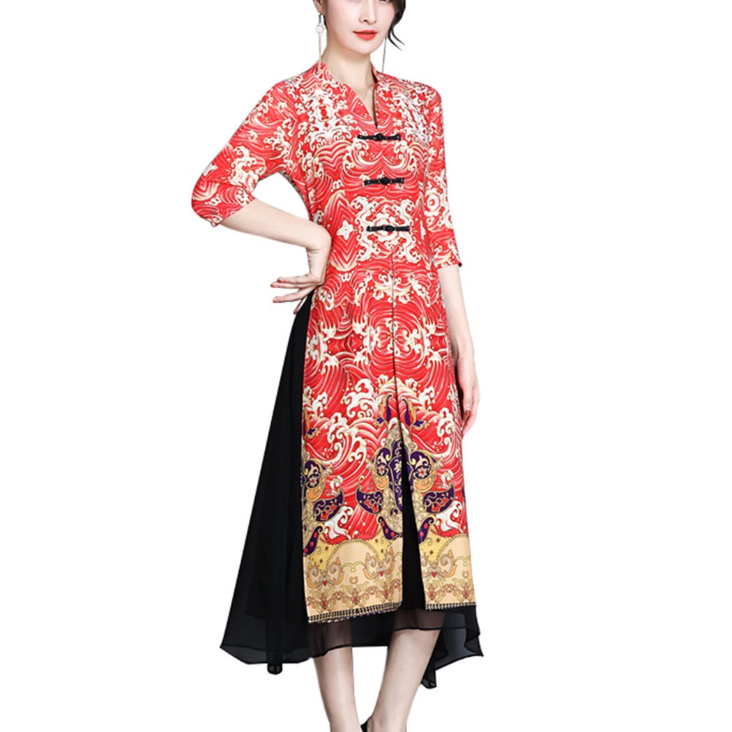 HÖTER Women's Retro Style Fake Two-Piece Printed Lace Red Loose Swing Plus Size Qipao Dress