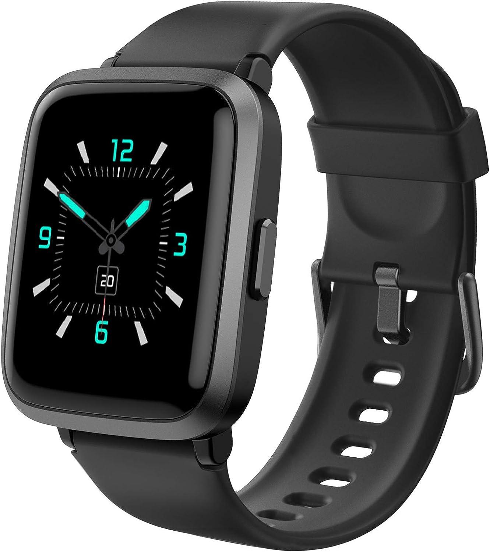 AIKELA Smartwatch,Relojes Inteligentes Mujer Hombre,Deporte Reloj de Fitness con Impermeable IP68,Actividad Monitores de Datos Físicos/Ciclo Menstrual Femenino,Compatible con Android iOS Negro