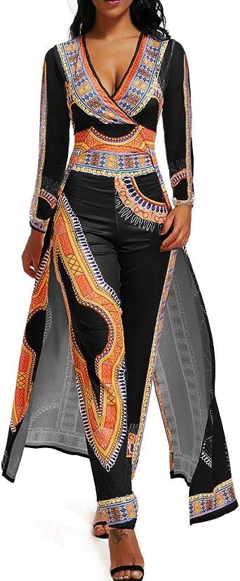 Amazon Com Trajes Para Mujer Elegante De Manga Larga Fiesta De Una Pieza Mono Pantalones Traje Con Falda Superposicion Clothing