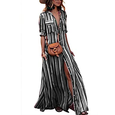 e4075b0ba4 Tubute Womens Button Down Stripes Half Sleeve Loose Maxi Dresses with  Pockets Black S at Amazon Women s Clothing store