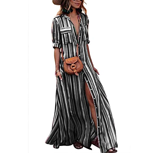 a49f9e0f904 Tubute Womens Button Down Stripes Half Sleeve Loose Maxi Dresses with  Pockets Black S
