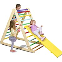 Costzon Foldable Triangle Climber with Ramp, 3 in 1 Toddler Wooden Activity Ladder for Sliding & Climbing, Safety Kids…