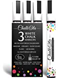 White Chalk Pens - Pack of 3 Chalk pens - Use on Chalkboard, Windows, Blackboard, Signs, Glass, Bistro - Water Based Wet Wipe erasable Pen - 4.5 mm Reversible Bullet & Chisel Tip