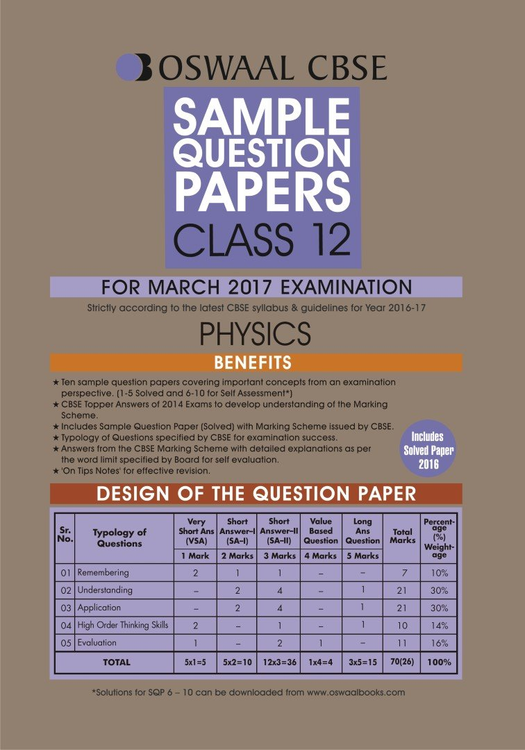 Poster design class 12 - Oswaal Cbse Sample Question Papers For Class 12 Physics For 2017 Exams Amazon In Panel Of Experts Books