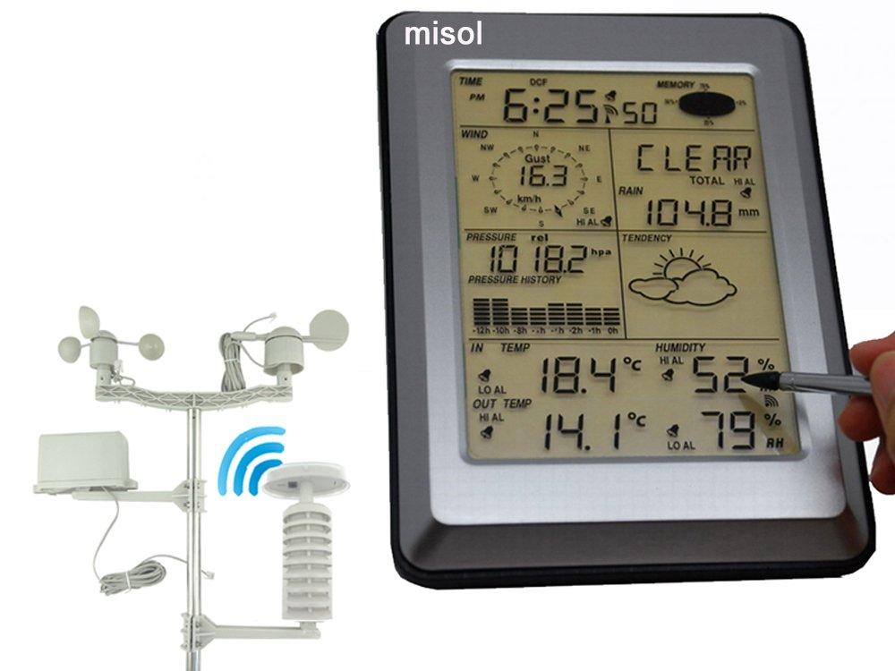 sensor solar w// PC interface//Panel t/áctil Estaci/ón Meteorol/ógica Profesional w MISOL Professional Wireless Weather Station Touch Panel w// Solar sensor interfaz de PC w