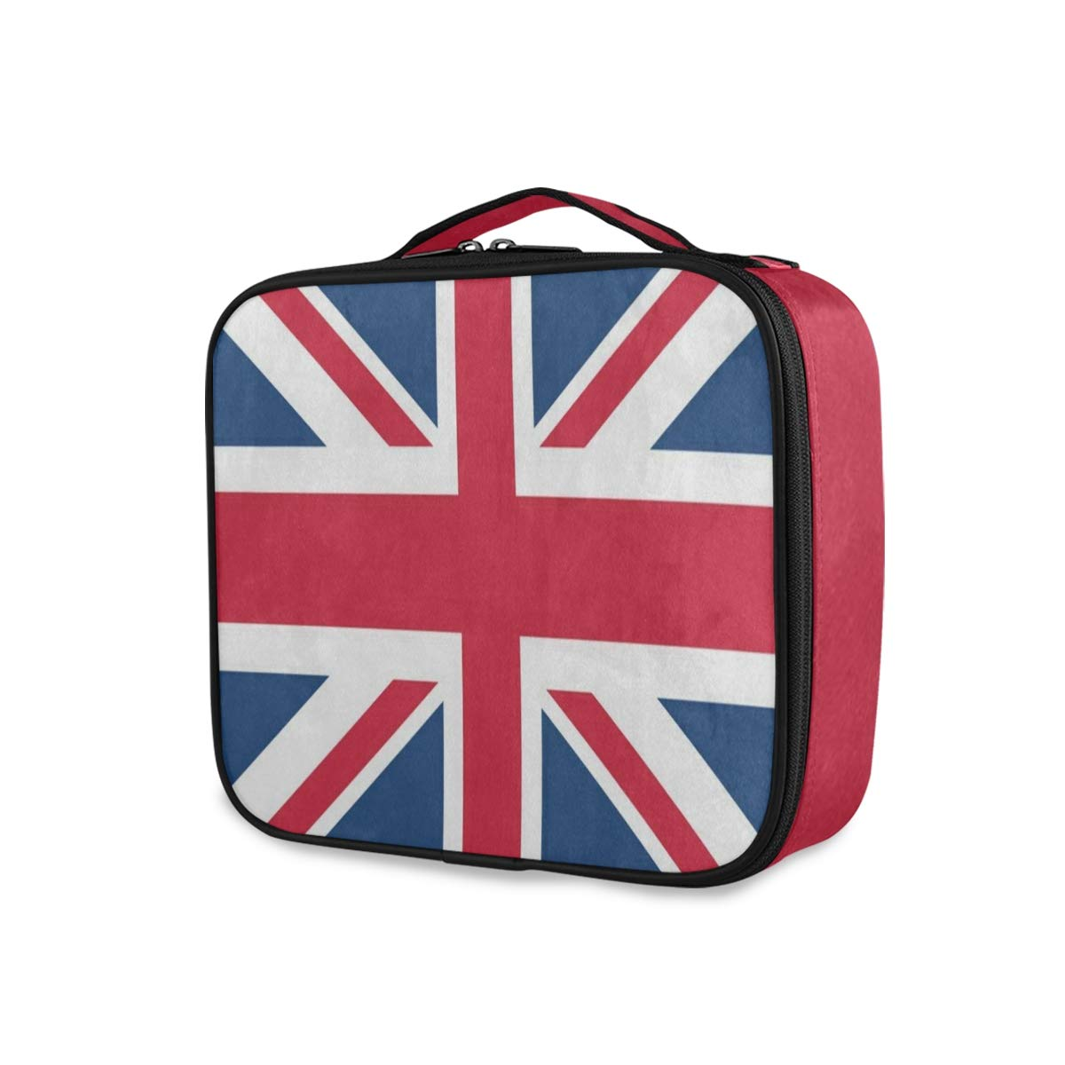British Flag Union Jack Travel Makeup Train Case Portable Organizer Cosmetic Bag for Women