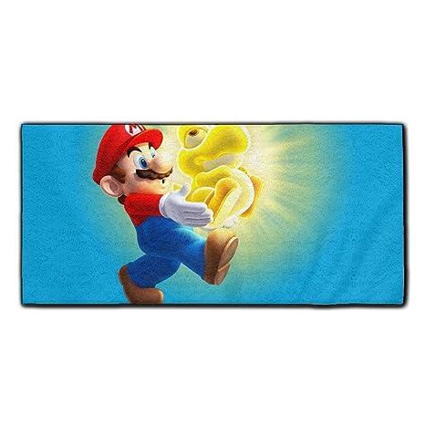 Poliéster toalla de baño (Super Mario Bros Super suave, fácil cuidado, hilado y