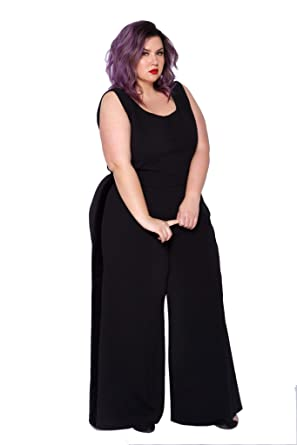 213a2fc7d44ec Astra Signature Women s Plus Size Sexy Scoop Neck Lyra Wide Leg Jumpsuit  Formal Sleeveless Pantsuit (