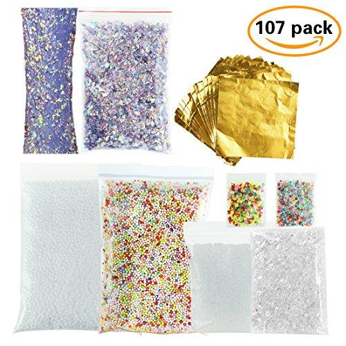 107 Pack Slime Kit -100 Sheets Imitation Gold Leaf, Fishbowl Beads Fish Bowl 3.5oz, Slushie Beads 3.5oz, Colorful Styrofoam Foam Balls 10000pc with Mermaid Confetti, Fruit Splice, Glitter Sequin, Grid
