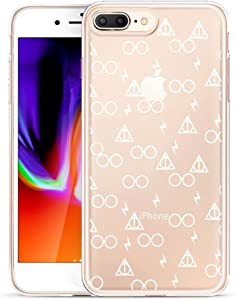 Unov Compatible Case Clear with Design Embossed Pattern TPU Soft Bumper Shock Absorption Slim Protective Case for iPhone 7 Plus iPhone 8 Plus 5.5 Inch(Death Hallows)