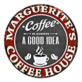 MARGUERITE'S Coffee House Chic Tin Sign Rustic Shabby Vintage style Retro Kitchen Bar Pub Coffee Shop man cave Decor Gift Ideas Review