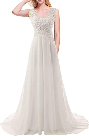 JAEDEN Beach Wedding Dress for Bride Lace Bridal Gown Appliques Chiffon