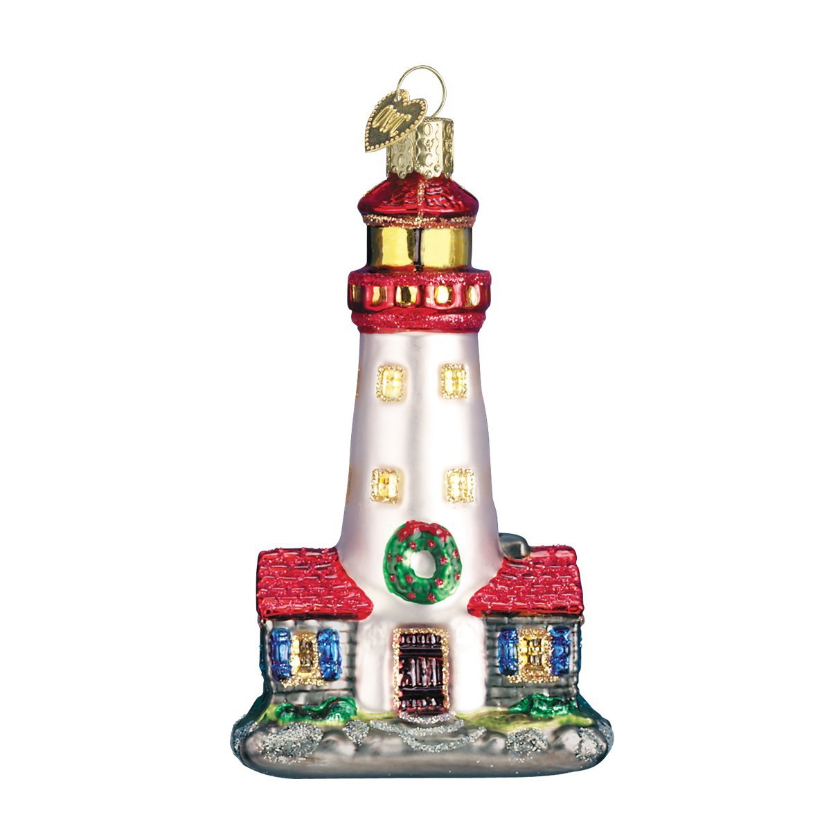 Amazon.com: Old World Christmas Lighthouse Glass Blown Ornament ...