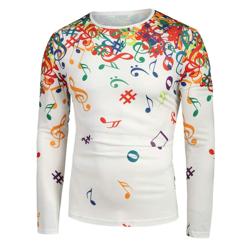 HCFKJ Camicia Uomo Manica Lunga Stampa Nota Musicale Camicetta Slim Fit Casual Camicie Regular Fit Particolari Magliette a Maniche Lunghe