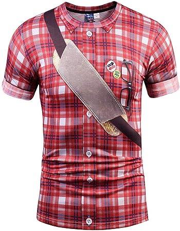 YAzNdom Manga Corta de los Hombres Patrón de Tela Escocesa Ocasional Camiseta con Estampado 3D Camisa Delgada Top Chaleco elástico Top Tops de Hombre (Color : 3D 1, tamaño : S): Amazon.es: Hogar