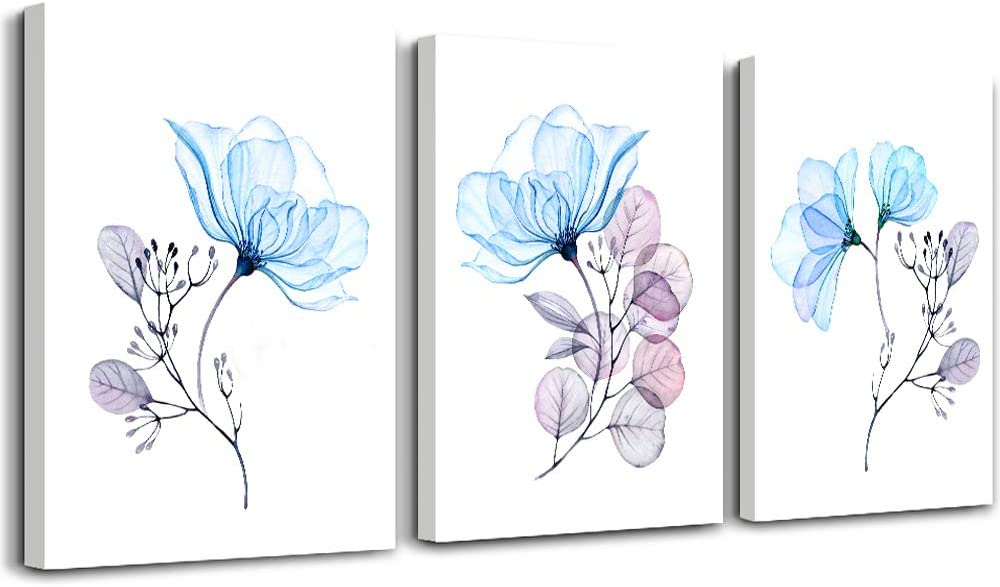 Modern blue flowers Canvas Wall Art for bedroom Living Room,Bathroom Wall Decor,3 Panels Wall Painting Home Decoration kitchen Canvas Print Abstract watercolor flowers and leaves artwork wall mural