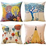 MINA LOBATA Throw Pillow Covers 18x18 Inch Set of 4 Cotton Linen Decorative Cushion Case for Sofa Car Home and Bedroom (Leisure time)