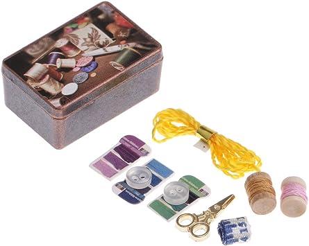 Amazon.es: CUTICATE 1/12 Caja de Metal Kits de Herramientas de Costura en Miniaturas para Casa de Muñecas: Juguetes y juegos