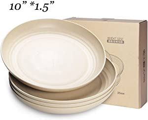 NAWOVAO 10 inch Microwave & Dishwasher Safe Plates, Eco-Friendly Wheat Straw Dinner/Dessert/Salad Plates, Lightweight & Unbreakable Dishes, Non-toxin, BPA free and Healthy for Kids