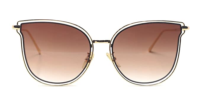Amazon.com: TIJN Gold Clear Cat Ear Oversized Glasses Frames for ...