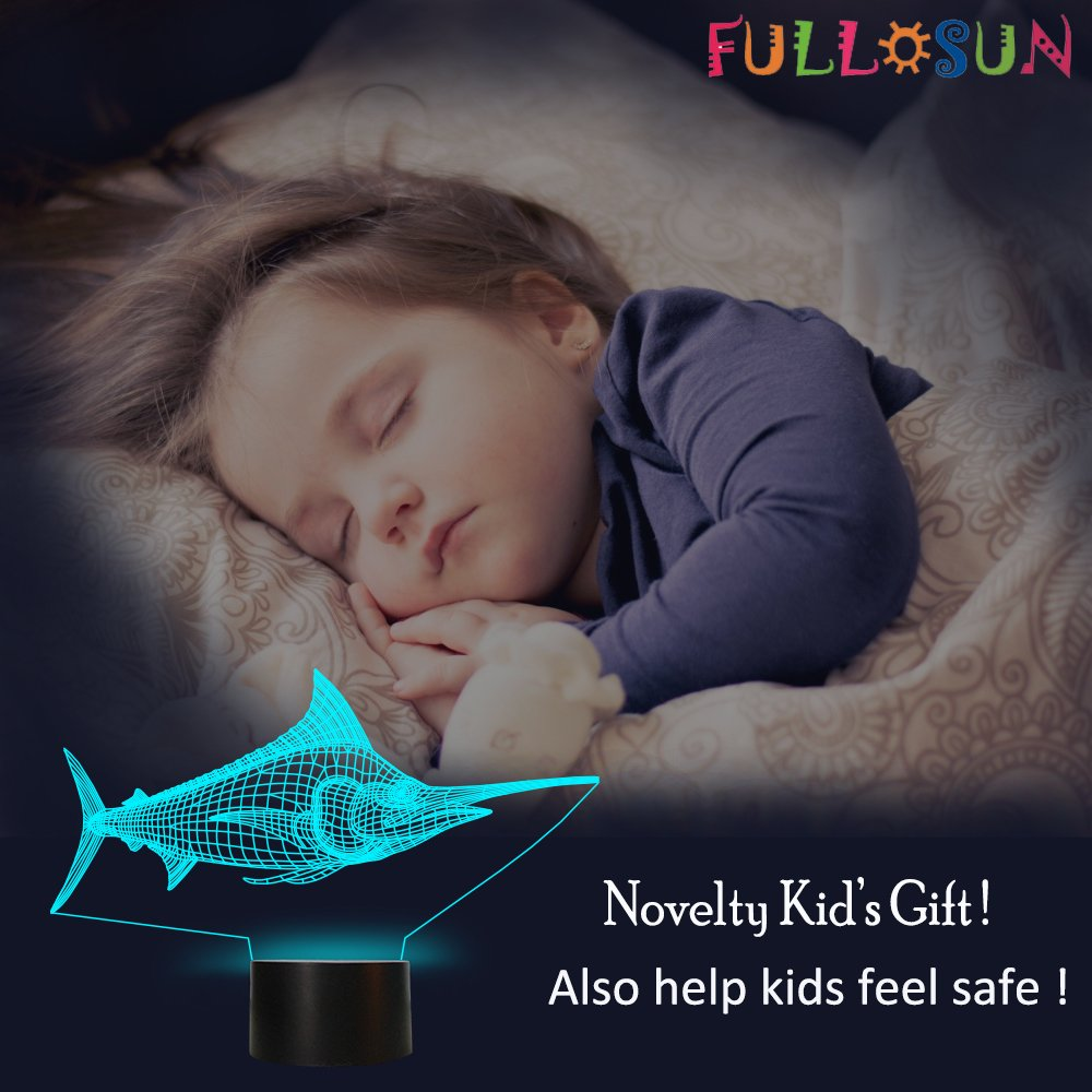 Marlin Table Lamp Multi Color Bedside Led Night Light with Light Base Novelty Baby Sleeping Night Light 3D Led Lamp