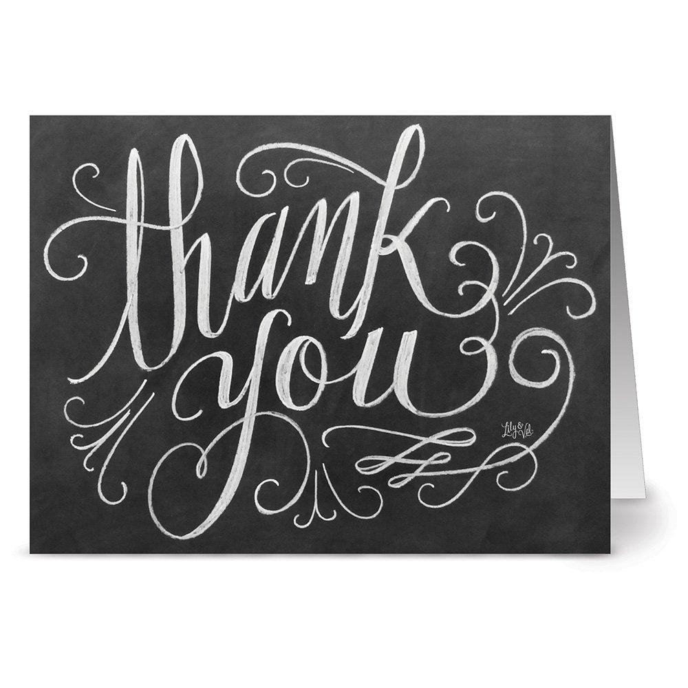 amazon com chalkboard thank you 36 note cards 6 designs kraft