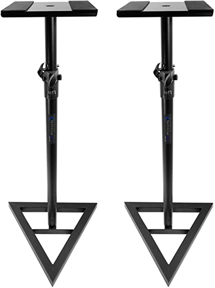Pair Technical Pro Black Studio Monitor Speaker Stands w// Adjustable Height