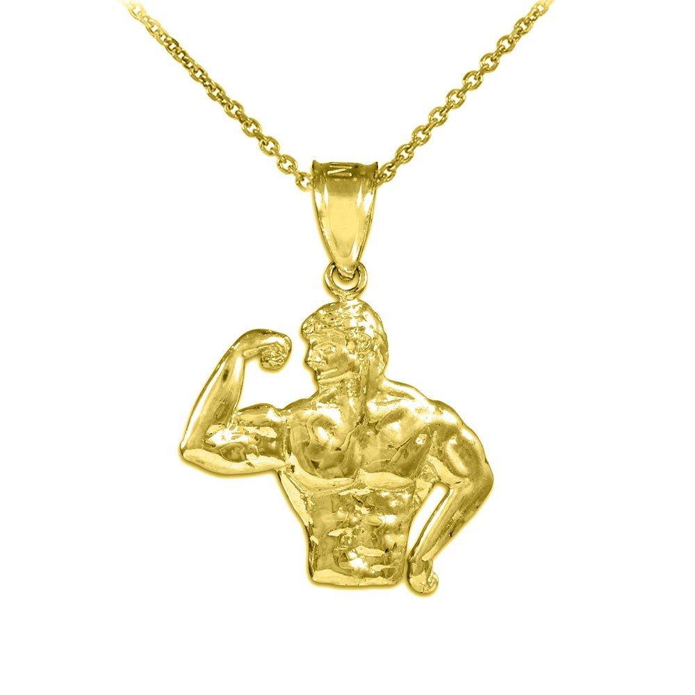 10k Yellow Gold Bodybuilder Sports Pendant Necklace, 22''