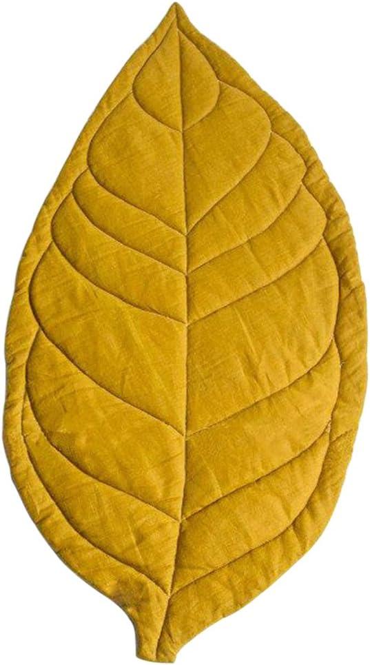 Braceus Nordic Newborn Baby Leaf Shape Soft Crawling Carpet Play Mat Kid's Room Decoration - Yellow